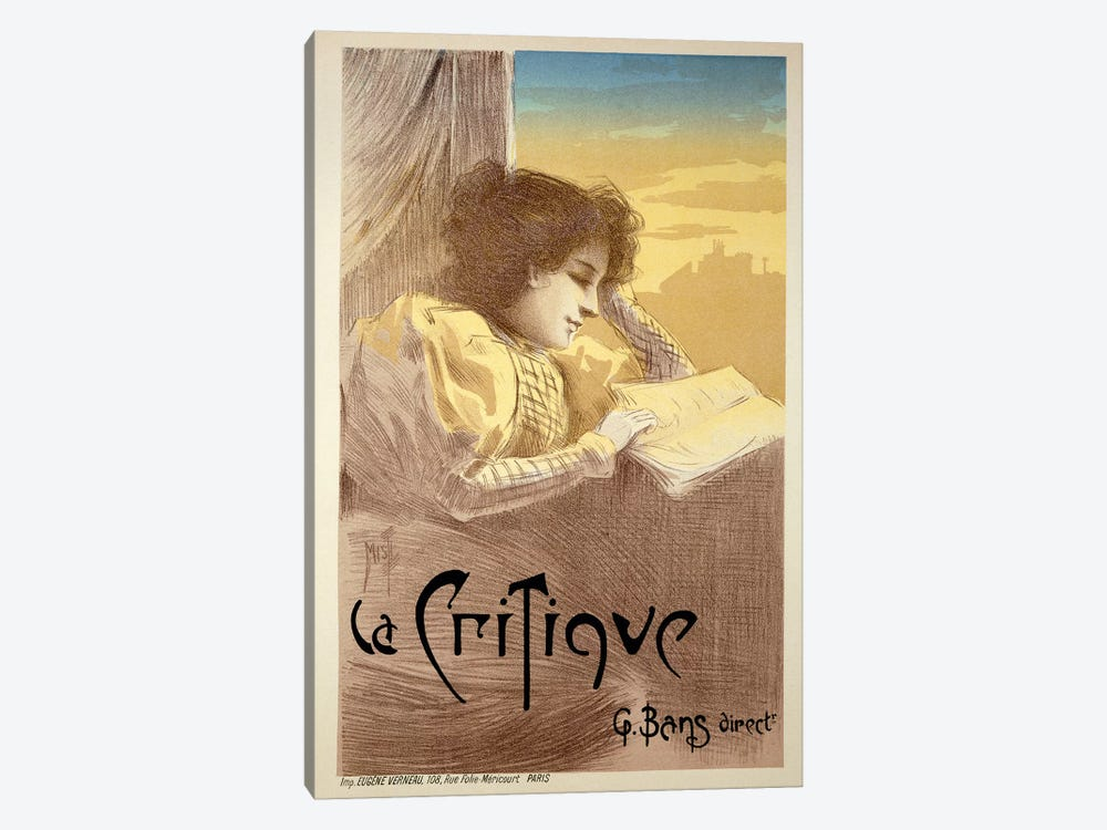 Poster Advertising 'La Critique', late 19th century  by Ferdinand Misti-Mifliez 1-piece Canvas Art Print