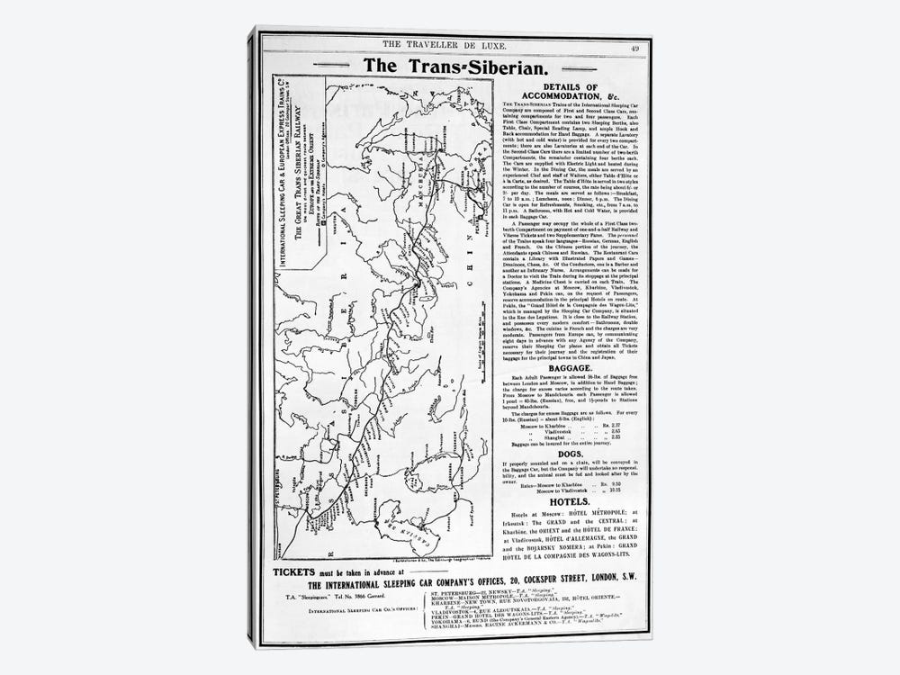 Map of the Trans-Siberian Railway, produced by J. Bartholomew & Co., c.1920  by English School 1-piece Canvas Wall Art