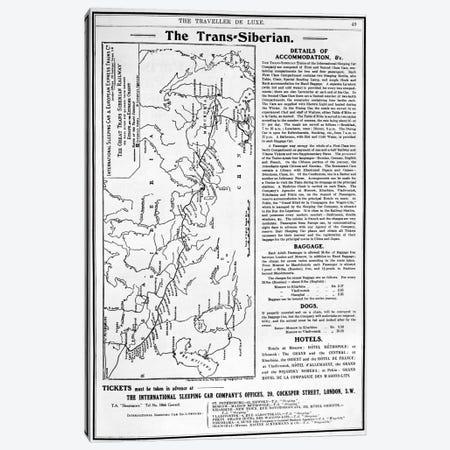 Map of the Trans-Siberian Railway, produced by J. Bartholomew & Co., c.1920  Canvas Print #BMN4098} by English School Canvas Art Print