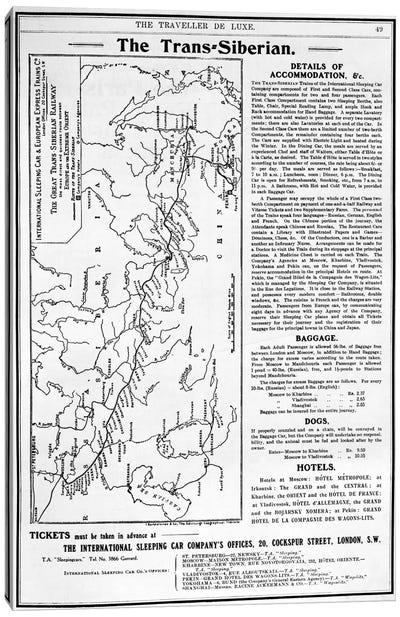 Map of the Trans-Siberian Railway, produced by J. Bartholomew & Co., c.1920  Canvas Art Print