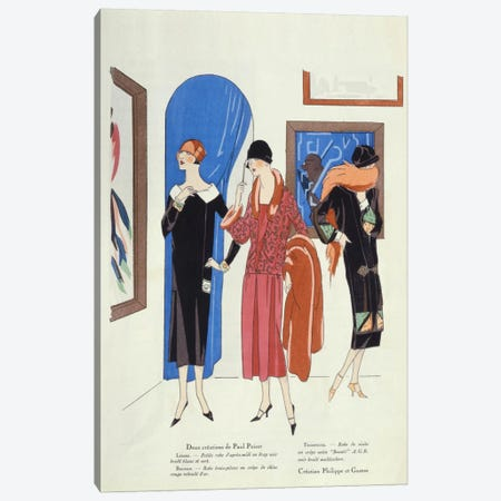 Fashion designs for visitors to art galleries by Paul Poiret and Philippe et Gaston Canvas Print #BMN40} by French School Canvas Artwork