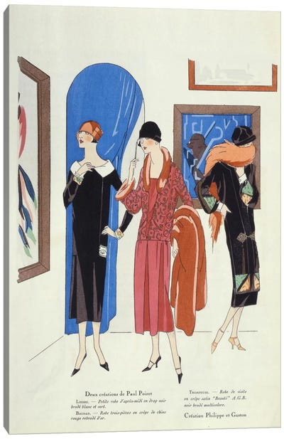 Fashion designs for visitors to art galleries by Paul Poiret and Philippe et Gaston Canvas Art Print