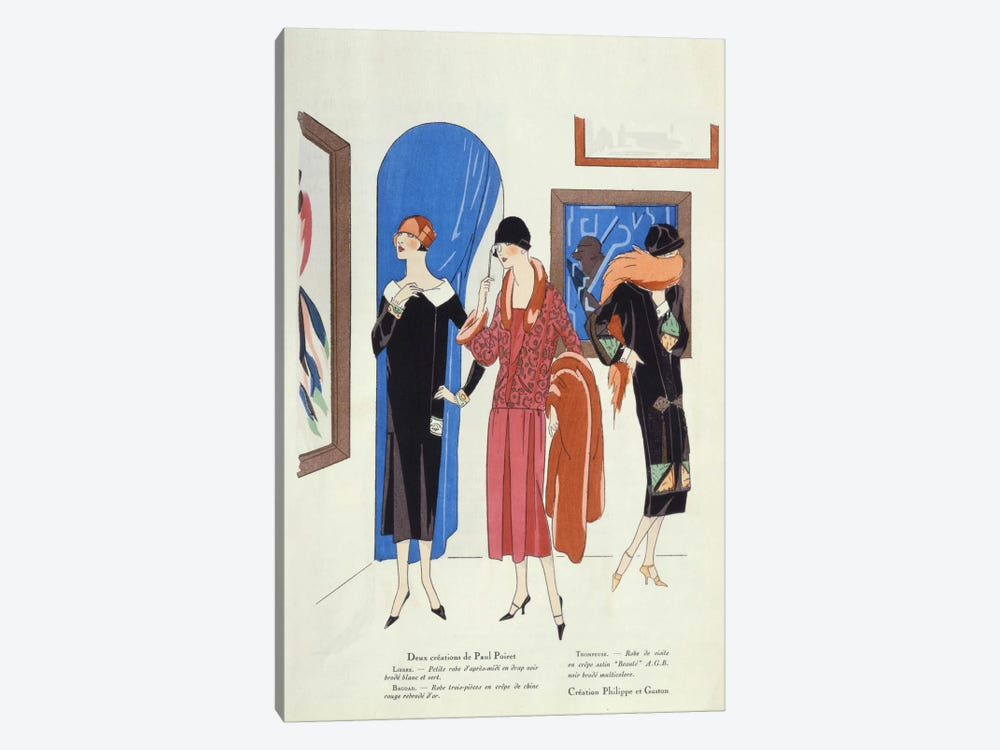 Fashion designs for visitors to art galleries by Paul Poiret and Philippe et Gaston by French School 1-piece Canvas Wall Art