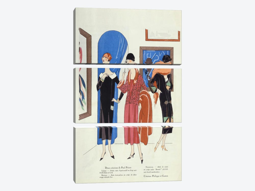 Fashion designs for visitors to art galleries by Paul Poiret and Philippe et Gaston by French School 3-piece Canvas Artwork