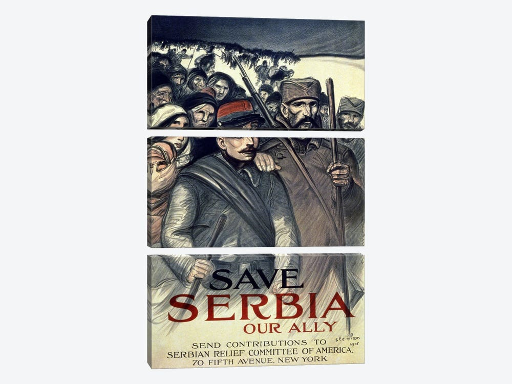 Save Serbia, Our Ally, 1916  by Theophile Alexandre Steinlen 3-piece Canvas Wall Art