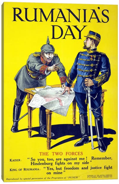 'Rumania's day', poster showing the Kaiser and the King of Romania arguing while examining a map, 1918  Canvas Art Print