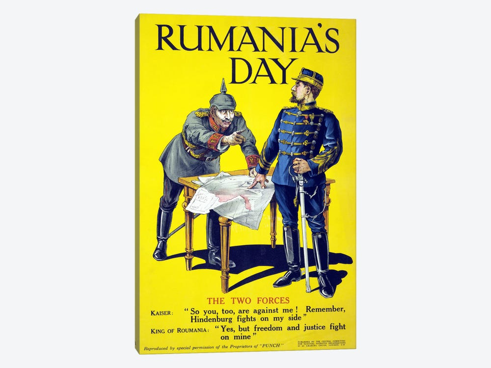 'Rumania's day', poster showing the Kaiser and the King of Romania arguing while examining a map, 1918 1-piece Canvas Print