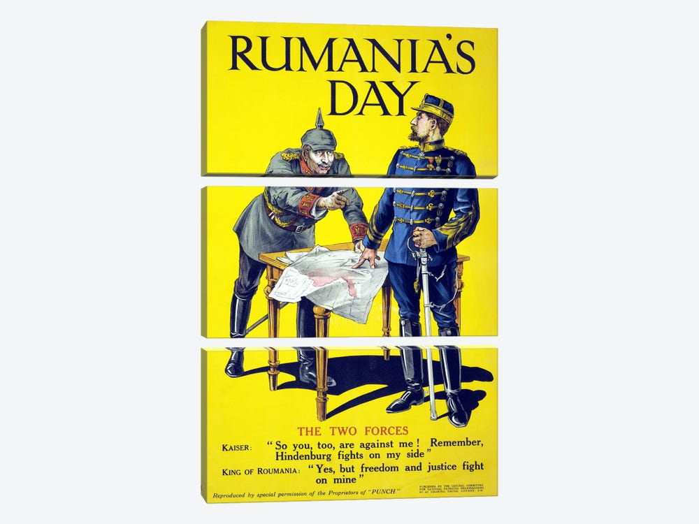 'Rumania's day', poster showing the Kaiser and the King of Romania arguing while examining a map, 1918 3-piece Art Print