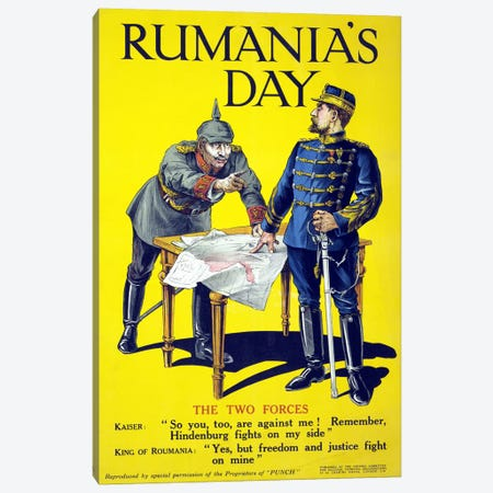 'Rumania's day', poster showing the Kaiser and the King of Romania arguing while examining a map, 1918  Canvas Print #BMN4109} by Unknown Artist Canvas Print