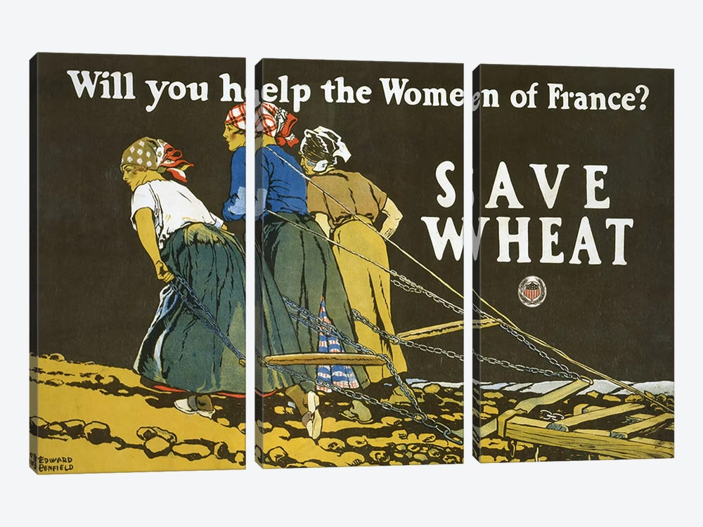 Save Wheat, 1918  by Edward Penfield 3-piece Canvas Art Print