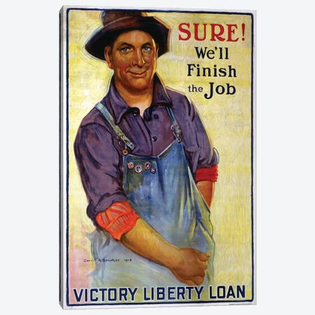 Sure! We'll Finish the Job, 1918  Canvas Print #BMN4116} by Gerrit Albertus Beneker Art Print