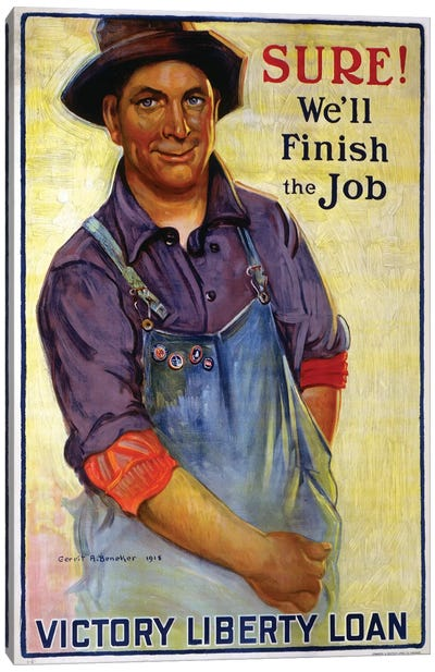 Sure! We'll Finish the Job, 1918  Canvas Art Print