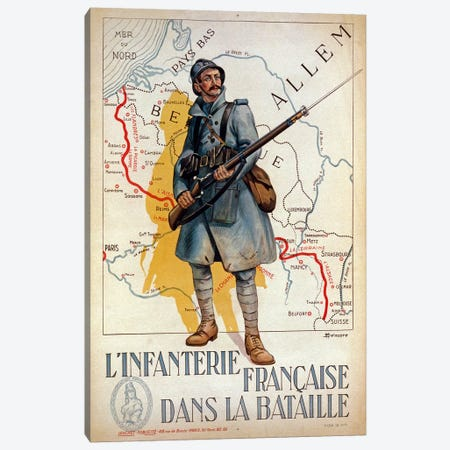 The French infantry in the battle, 1917  Canvas Print #BMN4117} by H. Delaspre Art Print