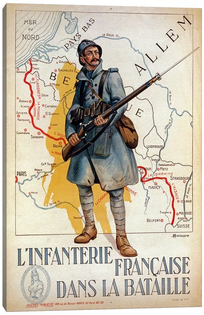The French infantry in the battle, 1917  Canvas Art Print