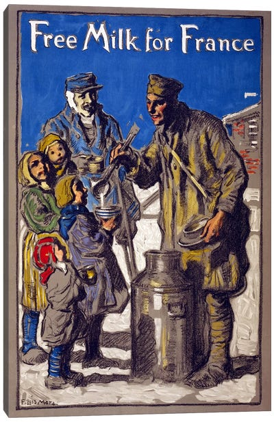 Free Milk for France, 1918 Canvas Art Print