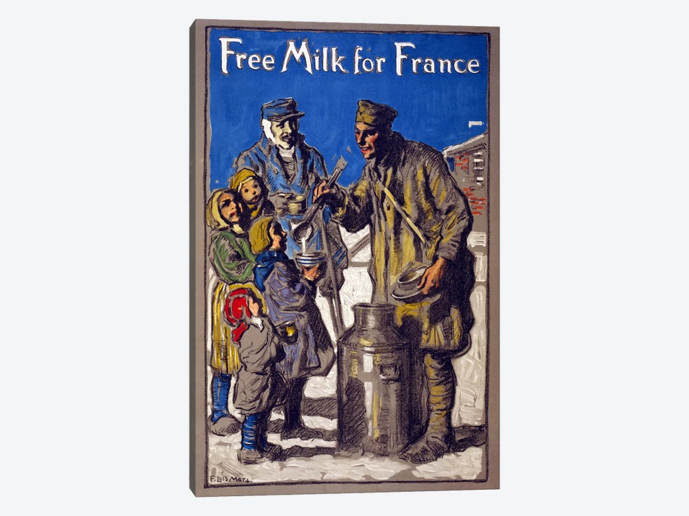 Free Milk for France, 1918  by Francis Luis Mora 1-piece Canvas Art Print