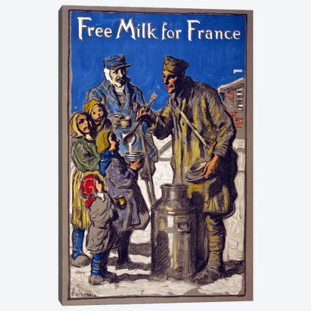 Free Milk for France, 1918  Canvas Print #BMN4118} by Francis Luis Mora Canvas Wall Art