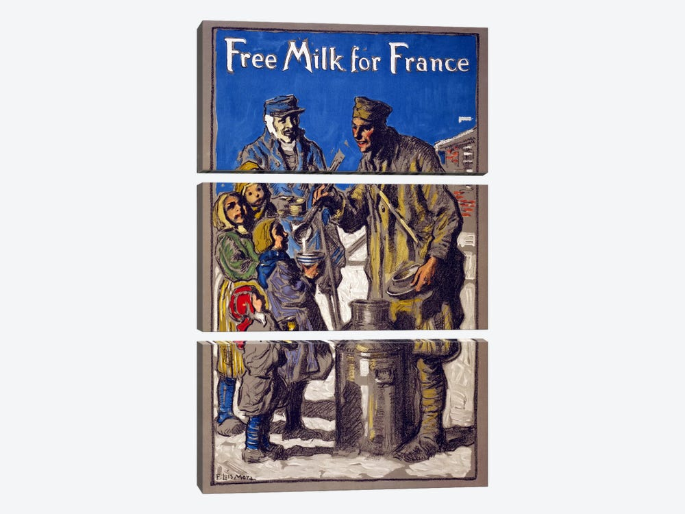 Free Milk for France, 1918  by Francis Luis Mora 3-piece Canvas Print
