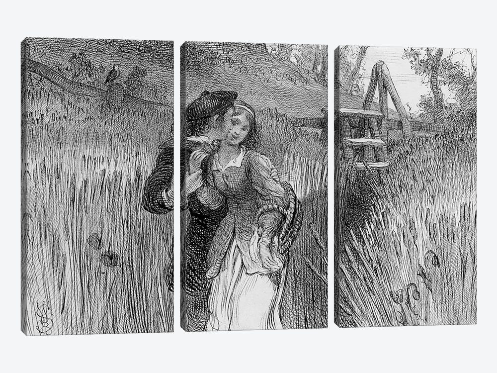 Comin'' Through the Rye, 1870 by William Bell Scott 3-piece Canvas Artwork