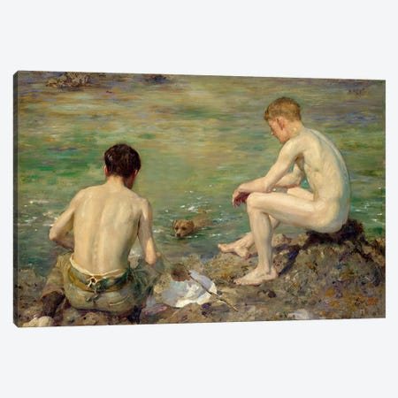 Three Companions Canvas Print #BMN411} by Henry Scott Tuke Canvas Print
