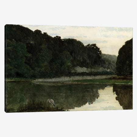 Landscape with Heron, 1868  Canvas Print #BMN4125} by William Frederick Yeames Canvas Wall Art