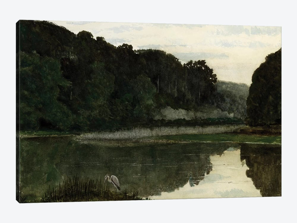 Landscape with Heron, 1868  by William Frederick Yeames 1-piece Canvas Art Print