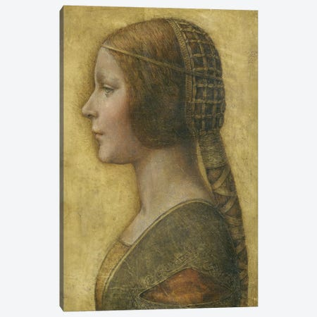 Profile of a Young Fiancee  Canvas Print #BMN4132} by Leonardo da Vinci Canvas Artwork
