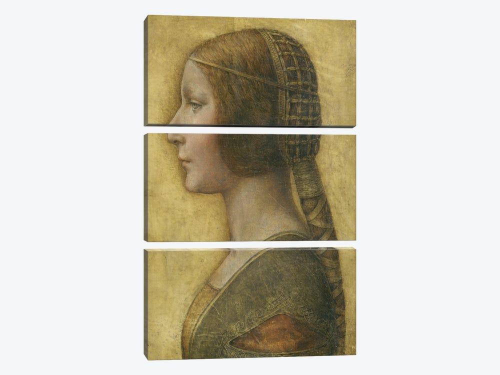 Profile of a Young Fiancee  by Leonardo da Vinci 3-piece Canvas Print