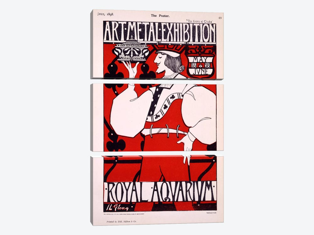 Poster for 'Art Metal Exhibition' at the Royal Aquarium, 1898  by Isobel Lilian Gloag 3-piece Canvas Print