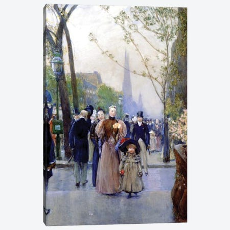 5th Avenue, Sunday, 1890-91  Canvas Print #BMN4138} by Childe Hassam Canvas Wall Art