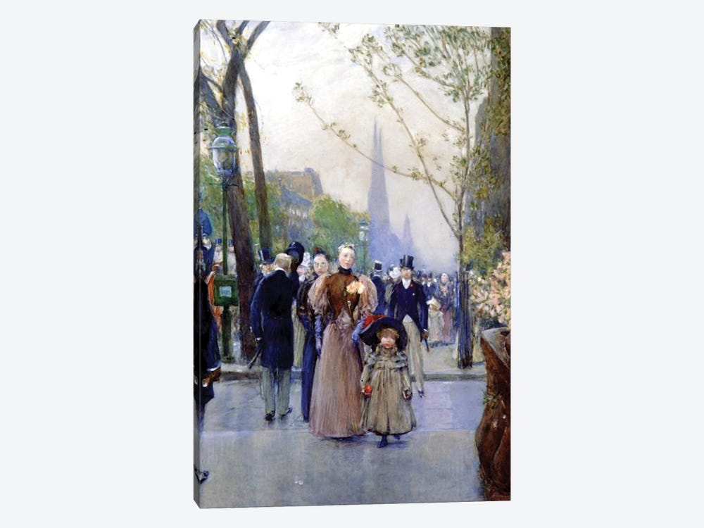 5th Avenue, Sunday, 1890-91  by Childe Hassam 1-piece Canvas Print