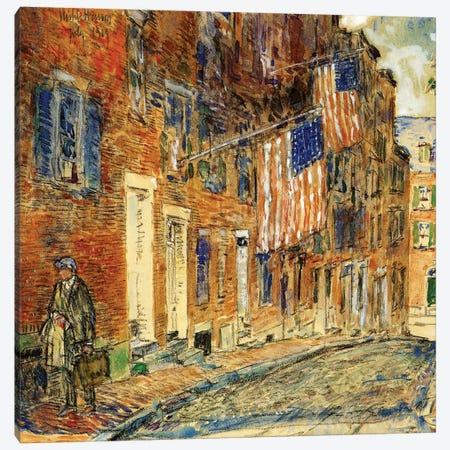 Acorn Street, Boston, 1919  Canvas Print #BMN4139} by Childe Hassam Canvas Art