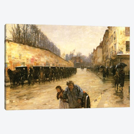 Cab Station, Rue Bonaparte, Paris, 1887  Canvas Print #BMN4143} by Childe Hassam Canvas Print