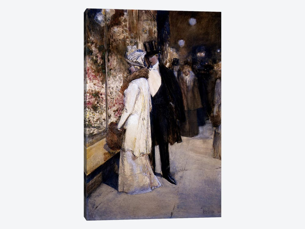 New Year's Nocturne, New York, 1892  by Childe Hassam 1-piece Canvas Art