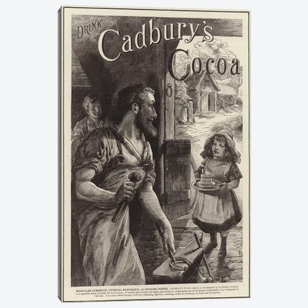 Advertisement for Cadbury's Drinking Cocoa  Canvas Print #BMN4170} by English School Canvas Wall Art