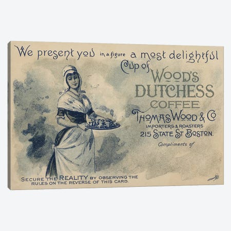 Maid serving coffee, advertisment for Wood's Duchess Coffee, Boston  Canvas Print #BMN4173} by American School Canvas Artwork