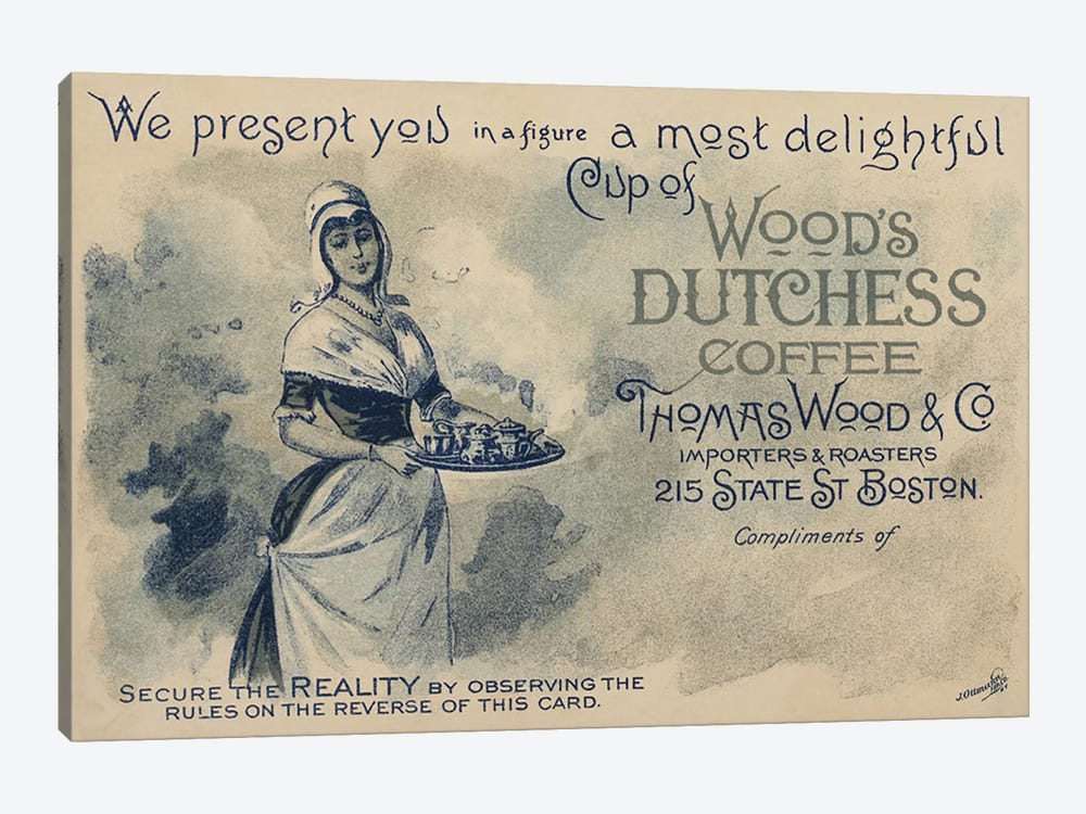 Maid serving coffee, advertisment for Wood's Duchess Coffee, Boston  by American School 1-piece Canvas Art