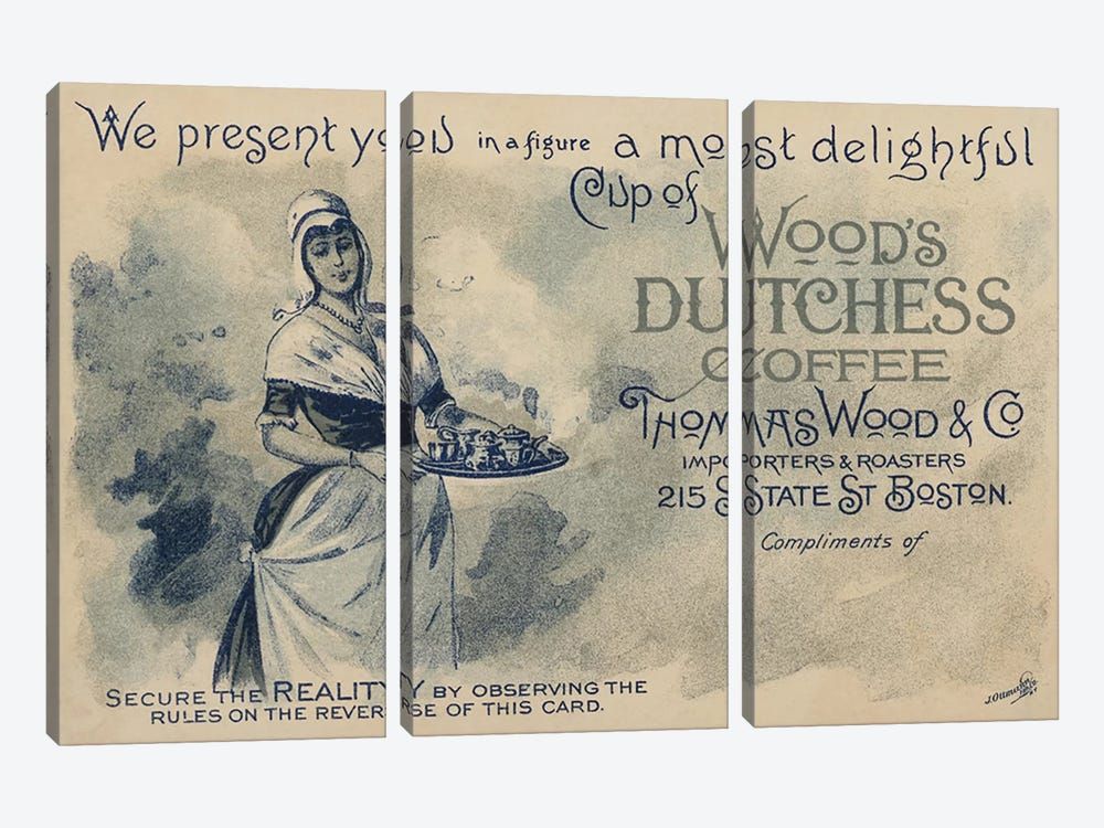 Maid serving coffee, advertisment for Wood's Duchess Coffee, Boston  3-piece Canvas Wall Art