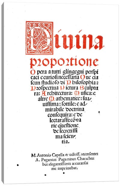 Frontispiece, from 'Divina Proportione' by Luca Pacioli Canvas Art Print