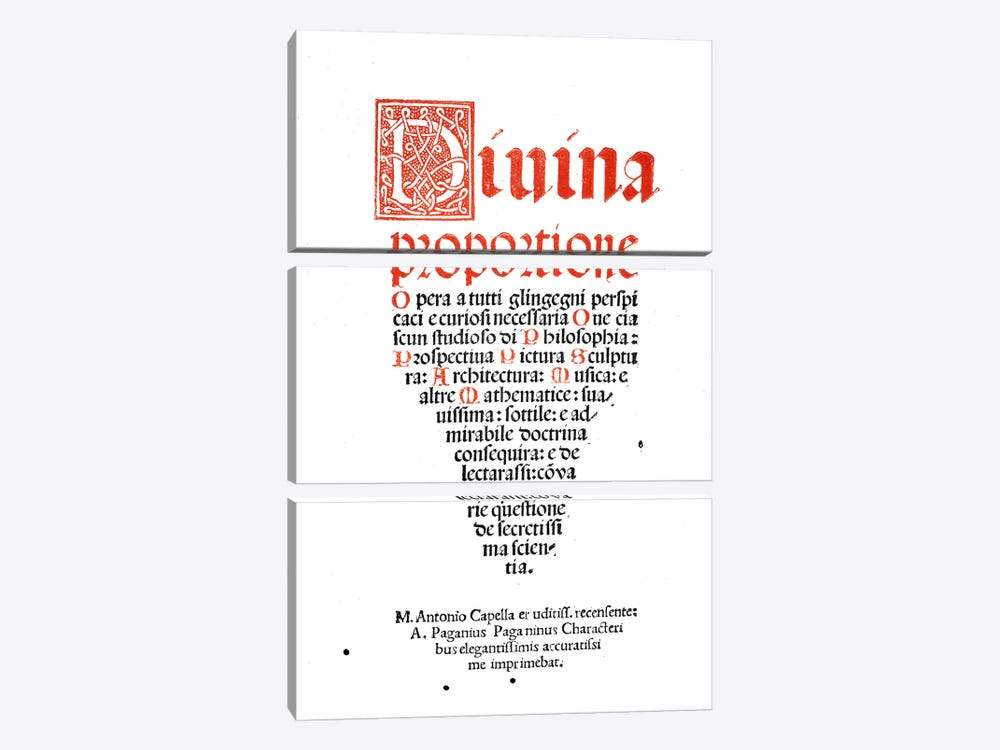 Frontispiece, from 'Divina Proportione' by Luca Pacioli  3-piece Art Print