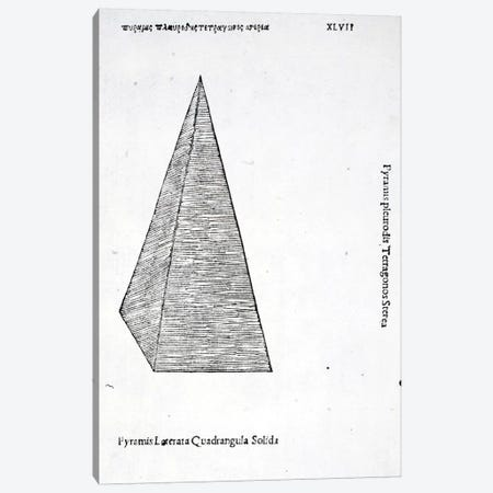 Pyramis Laterata Quadrangula Solida Canvas Print #BMN4177} by Leonardo da Vinci Canvas Print