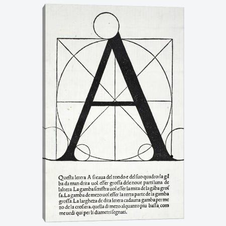 A, illustration from 'Divina Proportione' by Luca Pacioli  Canvas Print #BMN4189} by Leonardo da Vinci Canvas Print