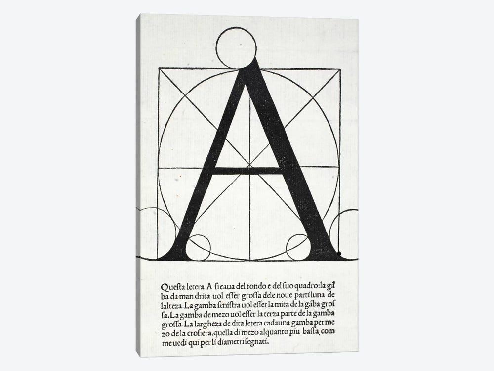 Letter A by Leonardo da Vinci 1-piece Canvas Art Print