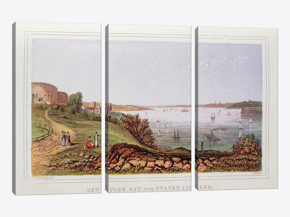 New York Bay from Staten Island, engraved by M. Kronheim and Co., London  by English School 3-piece Canvas Art Print