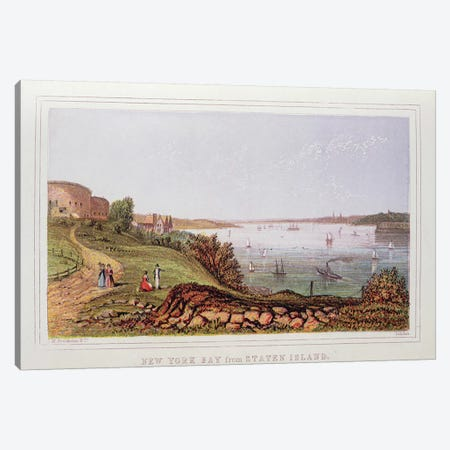 New York Bay from Staten Island, engraved by M. Kronheim and Co., London  Canvas Print #BMN418} by English School Canvas Print