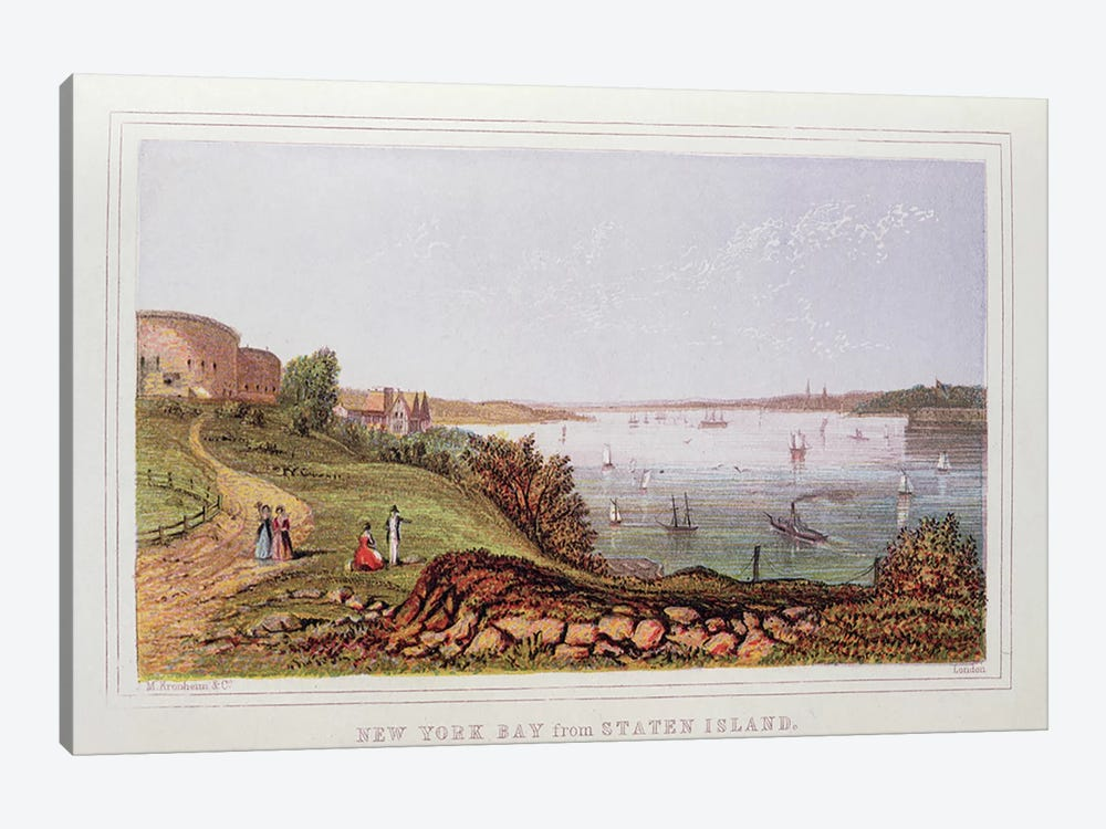 New York Bay from Staten Island, engraved by M. Kronheim and Co., London  by English School 1-piece Canvas Art Print