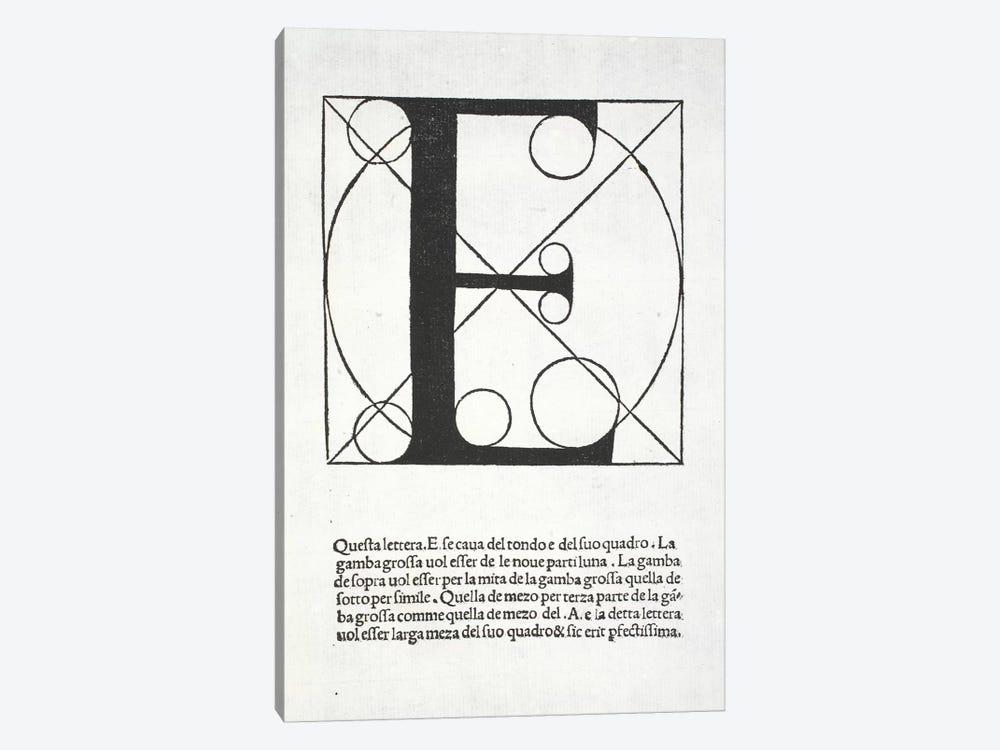 Letter E by Leonardo da Vinci 1-piece Canvas Wall Art