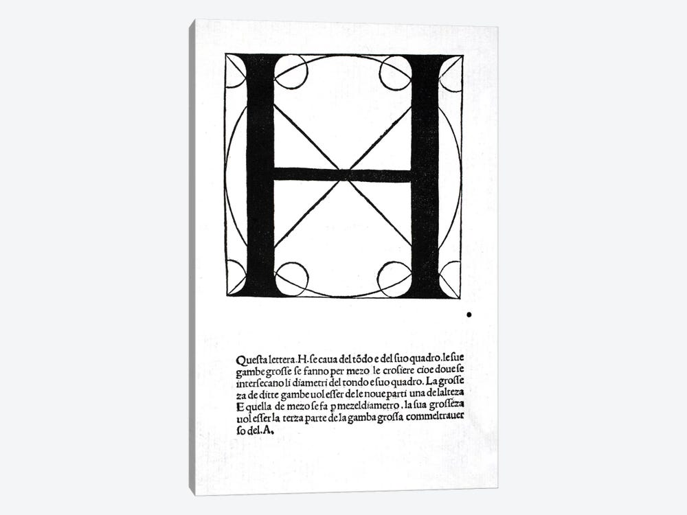 H, illustration from 'Divina Proportione' by Luca Pacioli by Leonardo da Vinci 1-piece Canvas Art Print