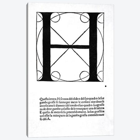 Letter H Canvas Print #BMN4196} by Leonardo da Vinci Art Print