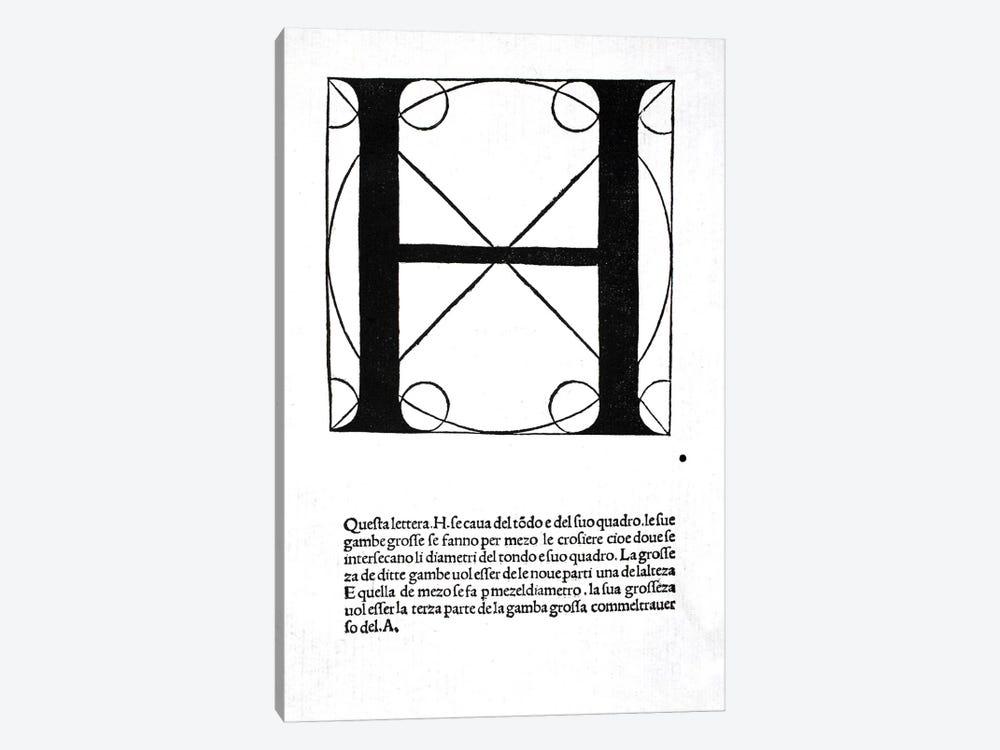 Letter H by Leonardo da Vinci 1-piece Canvas Art Print